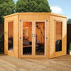 Products Mercia Holz 8 x Ecke Sommerhaus An Introduction To Garden Railroads Article Body: A pop Corner Summer House, Summer House Garden, Garden Bar, Garden Ideas, Summer Houses, Corner House, Patio Ideas, Gardens, Courtyards