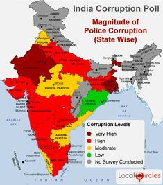 India Corruption Survey Indians paid bribes in the last one year India World Map, India Map, India Travel, Ap Human Geography, Geography Map, Ancient Indian History, History Of India, Gk Knowledge, General Knowledge Facts