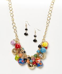 Loving this Gold Painted Bauble Bib Necklace & Earrings on #zulily! #zulilyfinds
