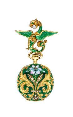 Lot An Art Nouveau Enamel and Gold Lapel Watch, circa 1900 Art Nouveau Jewelry, Jewelry Art, Antique Jewelry, Gold Jewelry, Jewelery, Vintage Jewelry, Fine Jewelry, Jewelry Design, Antique Watches