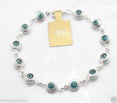 3D Greek Key Ocean Blue Evil Eye Bracelet Real 925 Sterling Silver   eBay