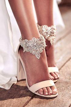 anna campbell 2018 wedding dresses silver pearl ascent hand beaded embellishment beach barefoot blosoom footcuff