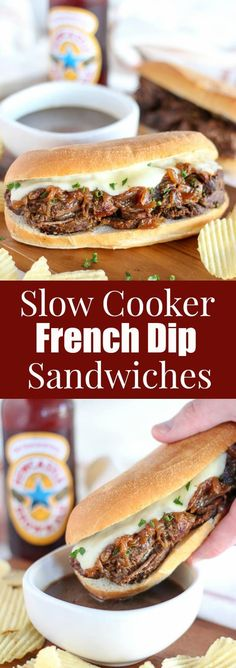 Slow Cooker French Dip Sandwiches -Tender beef, caramelized onions and melted cheese with au jus on the side for dipping. An easy recipe made in your slow cooker or crock pot.  #frenchdip #sandwiches #slowcooker #crockpot #gameday #dinner