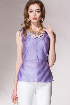 Блузка из легкой полупрозрачной ткани в тонкую полоску Noche Mio 6.075. Lilac blouse