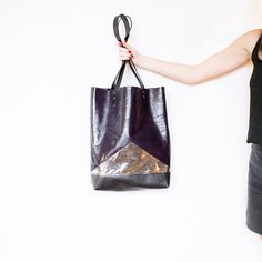 Metallic Purple Leather Shopper // Galaxy Silver Black Tote // Geometric Hobo Bag // Laptop Purse // Spring Gift