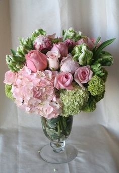 Pink hydrangea, Viburnum, Pink Peonies, Parrot Tulips and Pink Roses