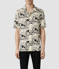 Mens Mauna Short Sleeved Shirt (Ecru) | ALLSAINTS.com $140
