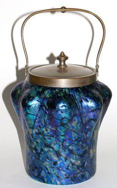 Art Nouveau Glass Biscuit Jar
