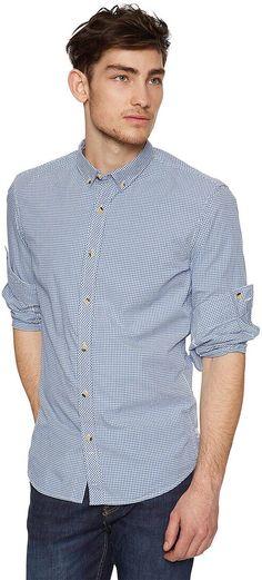 Button-Down-Hemd mit Streifen für Männer (gestreift, langärmlig mit Kentkragen) aus Baumwoll-Popeline, krempelbare Ärmel mit Knopf fixierbar, Knöpfe in Horn-Optik am Ausschnitt. Material: 100 % Baumwolle...