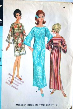 vintage 60 s McCalls 8506 robe   dress in 2 lengths 58c804d46