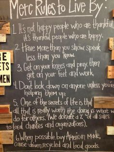 Mercantile's Rules To Live By