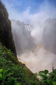 Victoria Falls, view of the Cauldron. Zimbabwe, Africa.