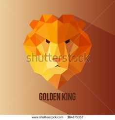 Geometric animal lion head golden king colored logotype