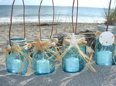 Starfish Mason Jar Lanterns SET of 4-Beach Wedding, Beach Home, Coastal Living, Mason Jars, Coastal Home Decor, Seashore, Blue Mason Jar