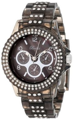 Breda Women's 2333-Black Courtenay Rhinestone Accented Black Three-Link Band Watch Breda. $31.50. Oversized rhinestone accented black bezel. Water-resistant - not recommended to take into deep water or shower. Black plastic three-link band with rhinestone accents. Highest Standard Quartz movement. Black mother of pearl dial marked with three non-working sub-dials, contrasting hour markers and hands. Save 30% Off!