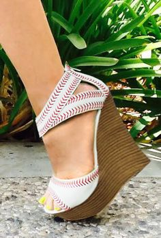 IN STOCK You fell head over heels for our baseball heel, now get ready to show your support for your favorite sluggers in our newest baseball wedges! These heels will be a home run while your rooting Baseball Shoes, Baseball Mom, Baseball Season, Baseball Snacks, Baseball Stuff, Cute Shoes, Me Too Shoes, Awesome Shoes, Stilettos