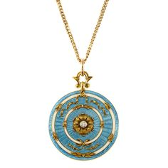 Belle Epoque Gold, Turquoise Guilloche Enamel and Diamond Locket with Gold-Filled Chain Necklace   14 kt., c. 1900, ap. 13.5 dwt. Length 24 inches.