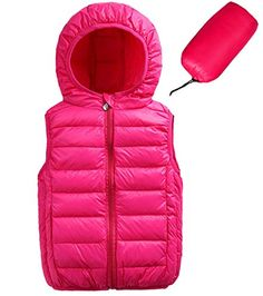 Aivtalk Kids Girls Winter Hooded Puffer Down Vest Packable Sleevelesss Zip Up Quilted Clothes Outwear Jacket 7-8 Years Pink