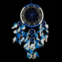 "Dream Catcher ~ Handmade Traditional Royal Blue & White 8.5"" Diameter & 24"" Long!"