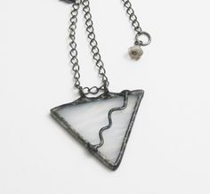White Stained Glass Triangle Pendant by groovyglassgirl on Etsy