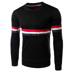 Round Neck Slimming Colorful Stripe Embellished Long Sleeve Men's... ($16) ❤ liked on Polyvore featuring men's fashion, men's clothing, men's shirts, men's t-shirts, mens slim fit long sleeve t shirts, mens t shirts, mens longsleeve shirts, mens long sleeve shirts and mens slim t shirts