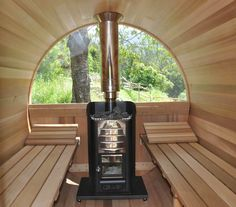 Wooden outdoor sauna made of clear western red cedar, two shapes , electric and wood-fired heating and many options available.they are all made in France
