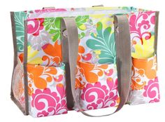 Thirty-One Organizing Utility Tote in island damask! Great bag for nurse, teacher and as a diaper bag!