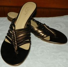 Ann Taylor Loft Sandals Size 6 M Bronze Leather Straps Kitten Heel