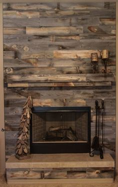 Pallet wall fireplace | For the Home | Pinterest | Wall fireplaces ...