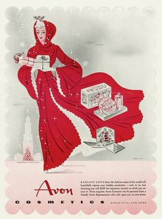 Vintage #Avon Christmas ad featuring a woman wearing a gorgeous red cape.