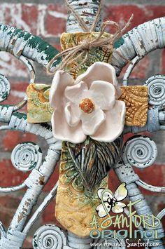 Mississippi Handbuilt Magnolia Lace Pottery Flower Cross