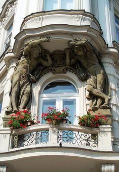 Window Detail, Old Town Square, Prague, Czech Republic alte + fenster + balkone Art Nouveau Architecture, Beautiful Architecture, Beautiful Buildings, Art And Architecture, Architecture Details, Beautiful Places, Balcon Juliette, Balcony Window, Porte Cochere