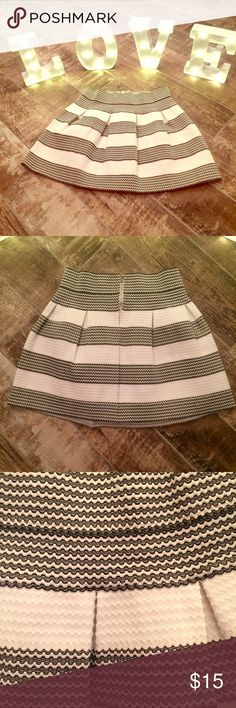 Charlotte Russe Pleated Skirt Trendy mini-length skirt! The pleats flare below the waist while an exposed metal back zipper seals the deal. Pairs perfectly with crop tops and tucked-in styles! Black and white. The size on the tag says XL but I feel it could fit a Large or even a medium very well!  Zipper closure at back Charlotte Russe Skirts Mini