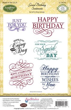 JustRite Papercrafts | cling stamps | Grand Birthday Sentiments |