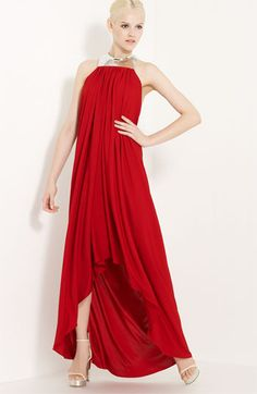 Michael Kors Draped Jersey Gown $3995 @Nordstrom A silvery metal choker suspends folds of crimson jersey in a stunning gown with an alluring low back.  Viscose rayon; dry clean.
