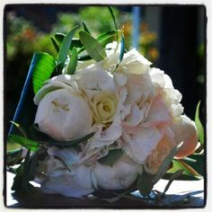 Wedding bouquet Peonies Hydrangeas Roses Olive leaves and Aspidistra, made by Efffetti