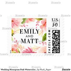 Wedding Monogram Pink Watercolor Flowers Postage Custom wedding postage stamps feature black custom monogram text that can be personalized with the bride and groom names. Includes a beautiful watercolor floral wreath border of greenery with pastel pink, blush, and peach spring dahlia and rose flowers.