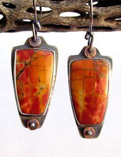 Earrings -Cherry Creek Jasper - Sterling Silver -Copper Accents - Cabochon - Bezel - Silversmith  www.rmddesigns.com