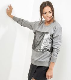 Grey Sequin Panel Long Sleeve Sweater  | New Look