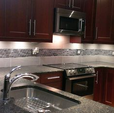 Stainless Steel Tile-Thin Stainless Brick Mosaic - Silver And Black I like the under lighting Kitchen Backsplash Designs, Kitchen Design Small, Kitchen Cabinets, Kitchen Remodel, Interior Design Kitchen, New Kitchen, Backsplash Kitchen Dark Cabinets, Kitchen Design, Primitive Kitchen