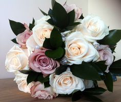 Vintage pink rose bouquet with pearl and diamante.
