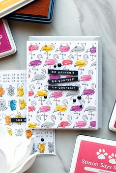 Simon Says Stamp   Faux Fingerprint Stamping - Quick & Funny Stamped Patterns. Be Yourself Card by Yana Smakula