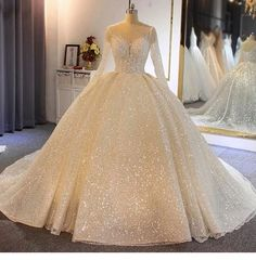 Sparkling Shinny Lone Sleeves Lace-Up Ball Gown Wedding Dresses- # Ball . - Sparkling Shinny Lone Sleeves Lace-Up Ball Gown Wedding Dresses- # Ball - Lace Styles For Wedding, Top Wedding Dresses, Wedding Dress Trends, Wedding Dress Sleeves, Princess Wedding Dresses, Lace Wedding, Wedding Rings, Wedding Ideas, Wedding Dress Sparkle