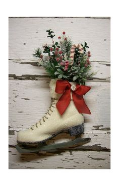 Christmas Ice Skate Christmas Decor Christmas wreath by 6miles