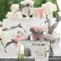 Pink and grey wedding ideas (bows around containers!)