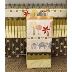 @Overstock - Enhance your nursery with a four-piece set of elephant brigade bedding set  Bedding set includes a coverlet, quilt, boxed bed skirt, and four-sectional bumper  Bedding set features a bright colored forest and elephantshttp://www.overstock.com/Baby/Cotton-Tale-Elephant-Brigade-4-piece-Crib-Bedding-Set/4457207/product.html?CID=214117 $167.99