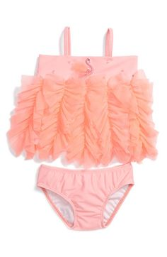 Kate Mack 'Embroidered Swan' Two Piece Swimsuit (Infant) available at Nordstrom