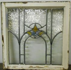 "OLD ENGLISH LEADED STAINED GLASS WINDOW Arch Design, Mostly Clear 20.5"" x 21"""