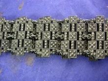 Antique Georgian Belt 1800's CUT STEEL faux marcasites renaissance revival accessory