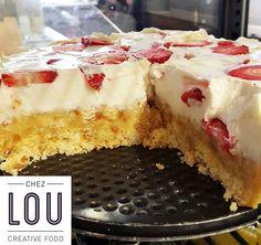 Cheesecake aux fraises sur pâte sablée, by Lou